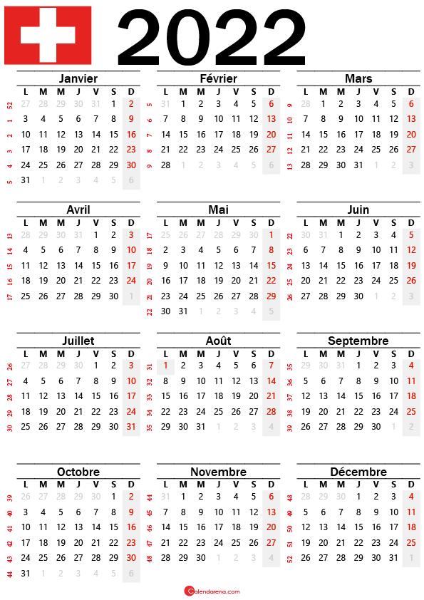 calendrier mensuel 2022 à imprimer suisse