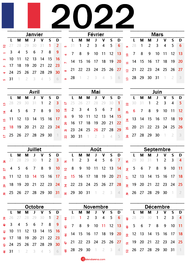 calendrier mensuel 2022 à imprimer