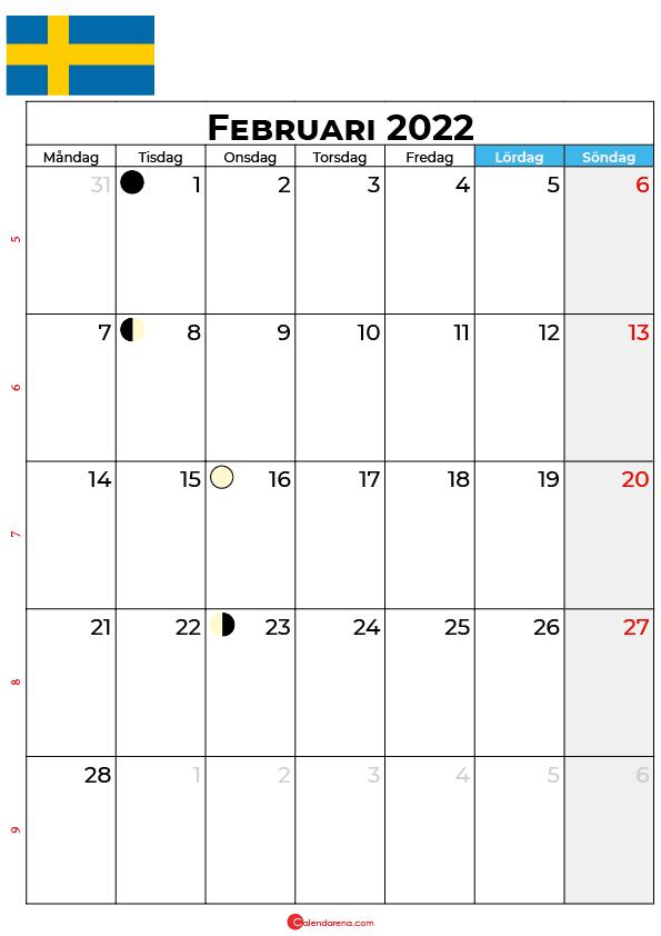 februari kalender 2022 Sverige