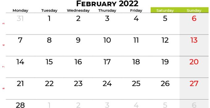 february 2022 calendar canada