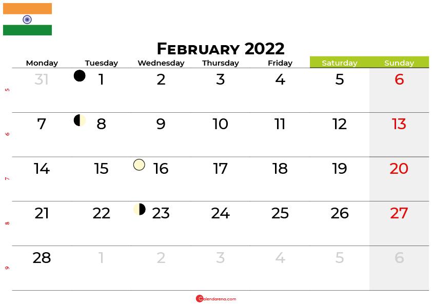 february 2022 calendar india
