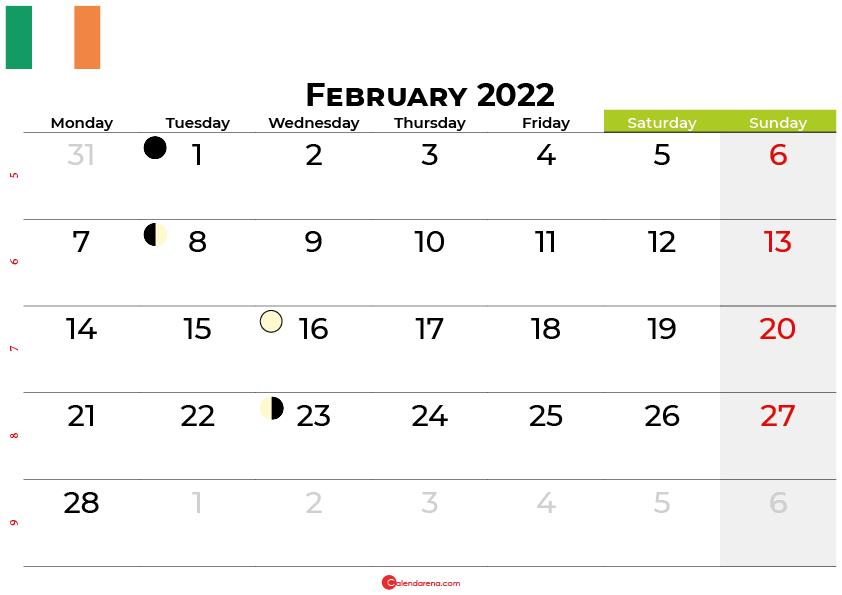 february 2022 calendar ireland