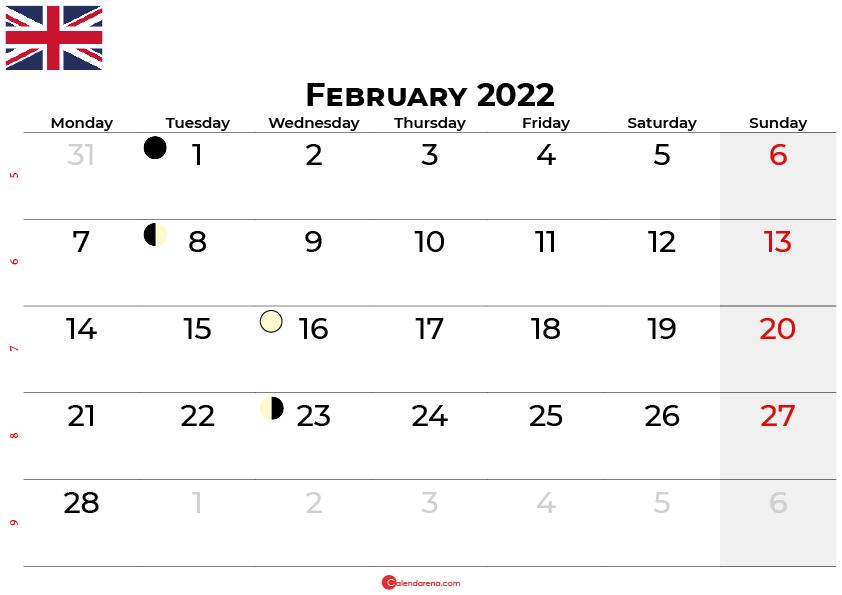 february 2022 calendar united kingdom