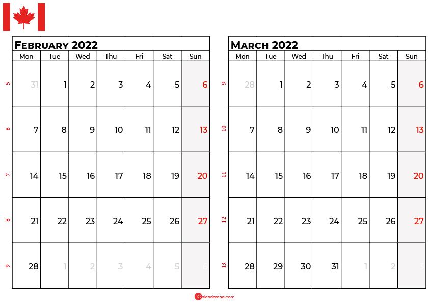 february and march 2022 calendar canada