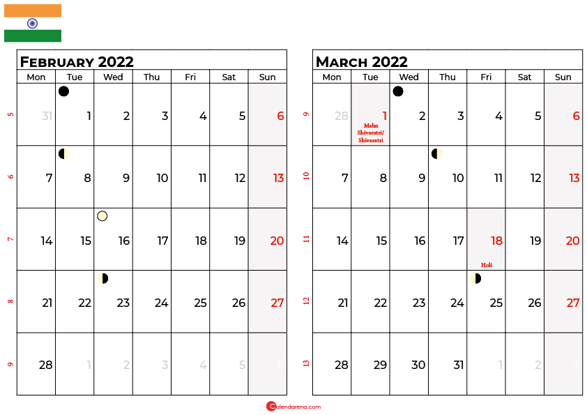 february and march 2022 calendar india