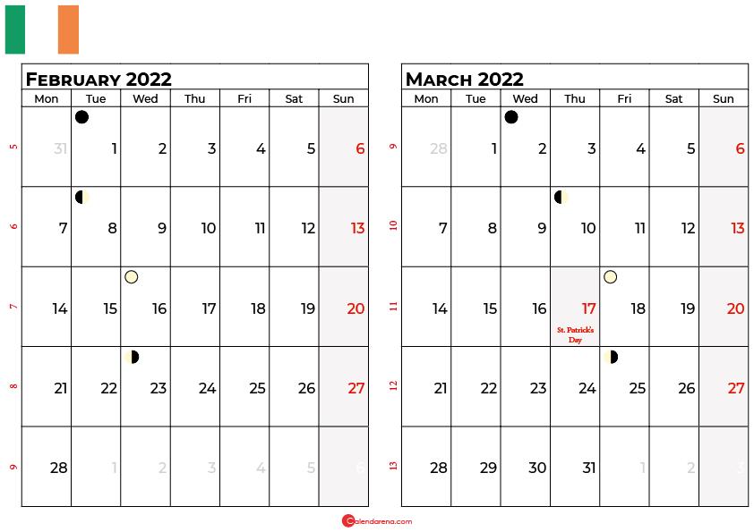 february and march 2022 calendar ireland
