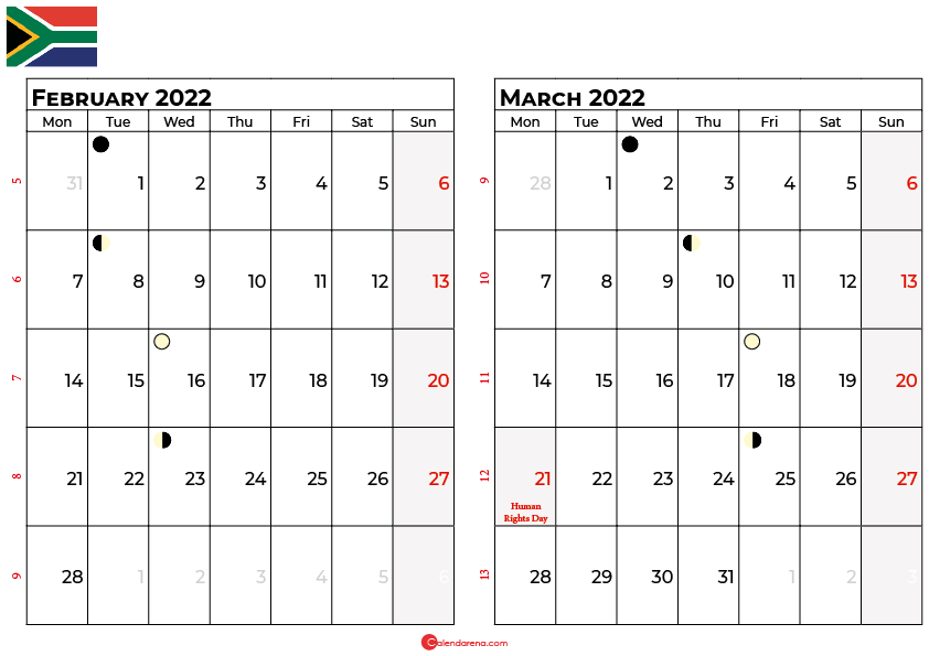 february and march 2022 calendar south africa