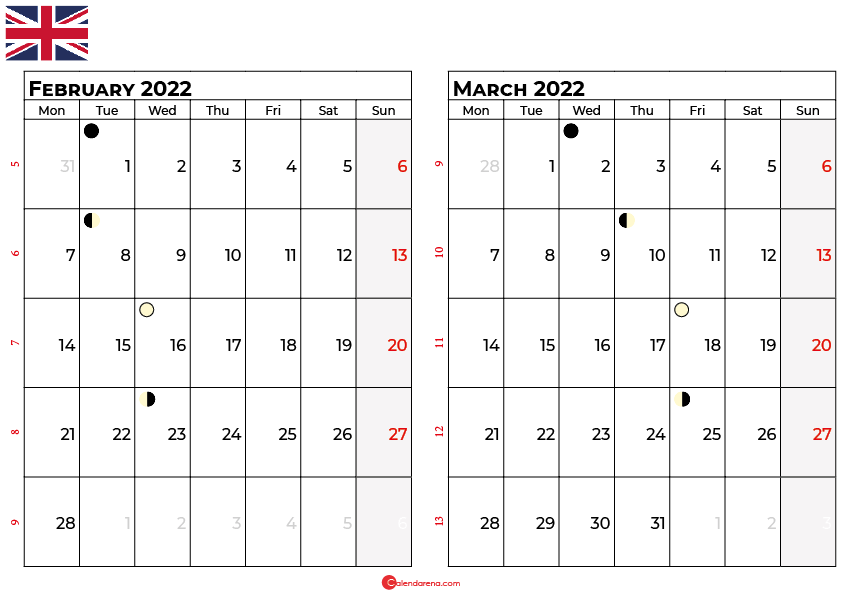 february and march 2022 calendar uk