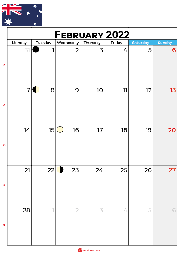 february calendar 2022 australia