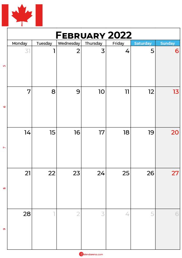 february calendar 2022 canada
