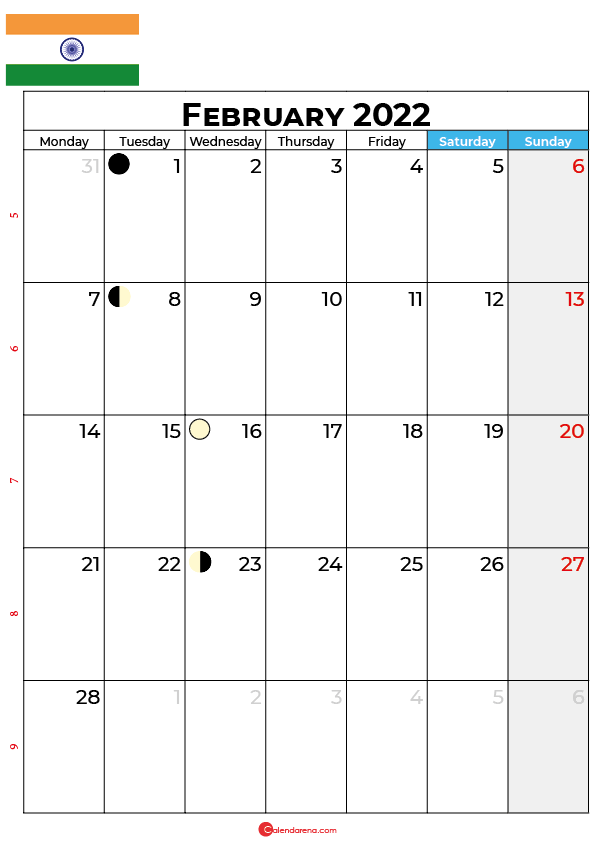 february calendar 2022 india