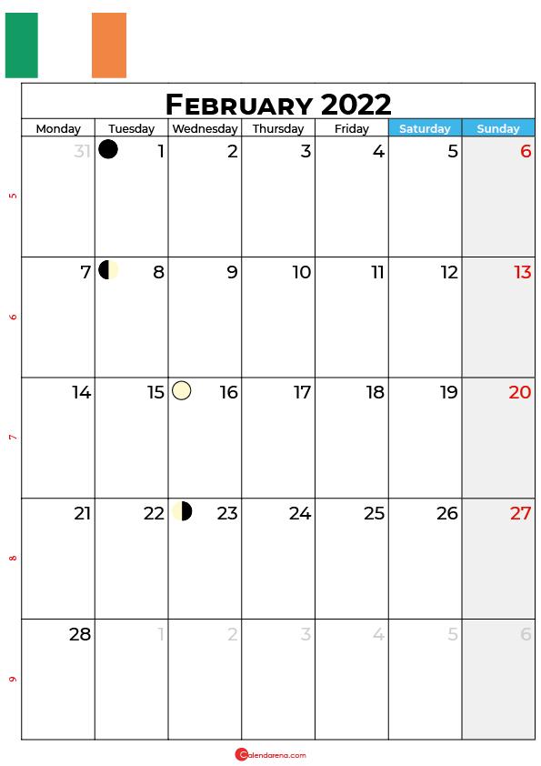 february calendar 2022 ireland