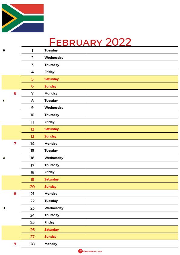 february calendar 2022 south africa