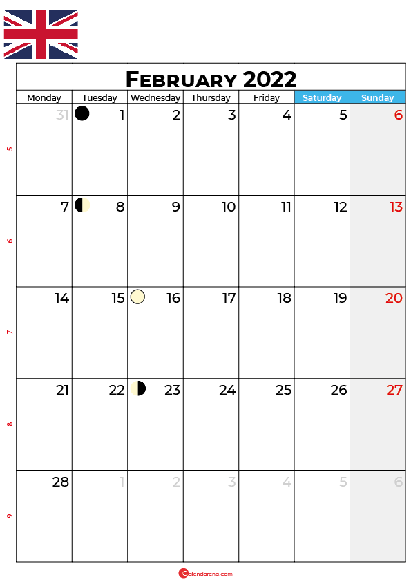 february calendar 2022 united kingdom