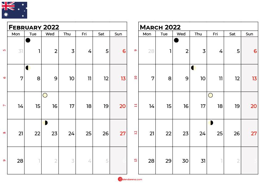 february march calendar 2022