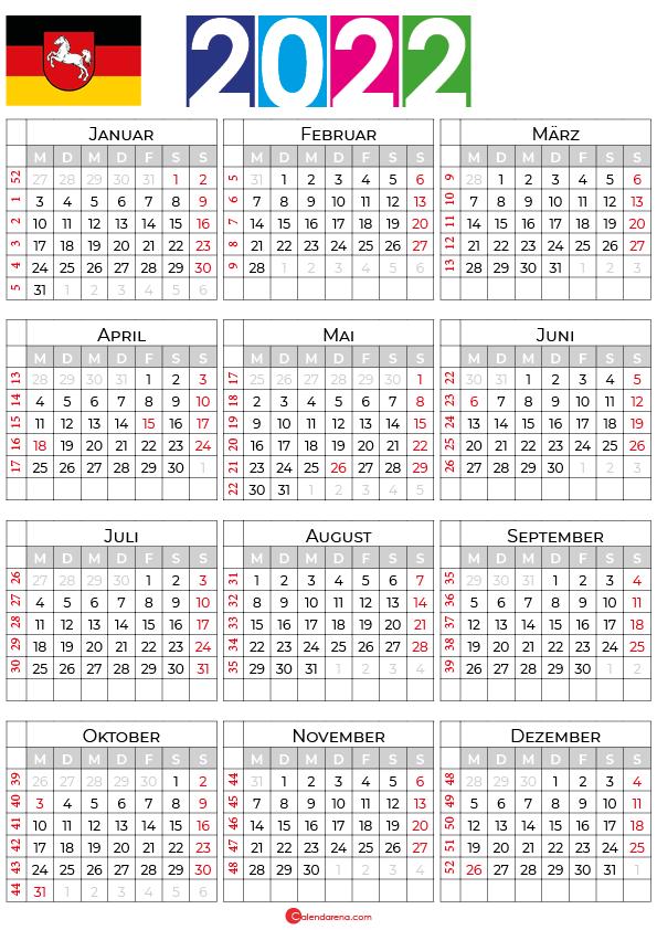 ferien niedersachsen 2022 kalender