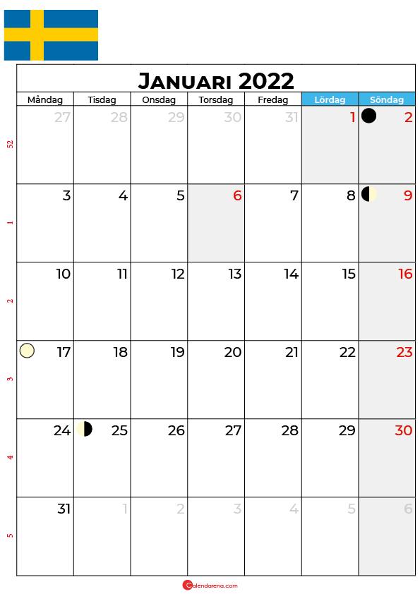 januari kalender 2022 Sverige
