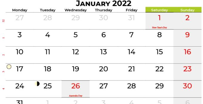 january 2022 calendar australia
