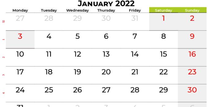 january 2022 calendar canada