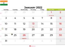 january 2022 calendar india
