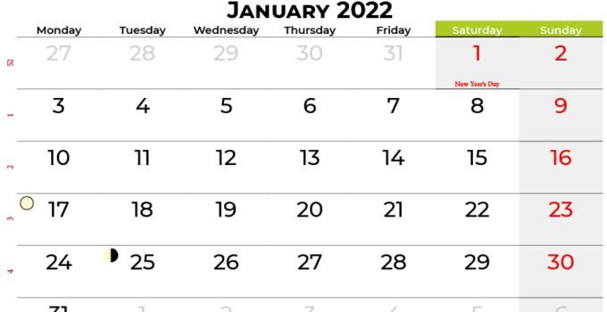 january 2022 calendar ireland