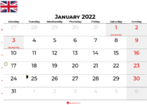 january 2022 calendar united kingdom