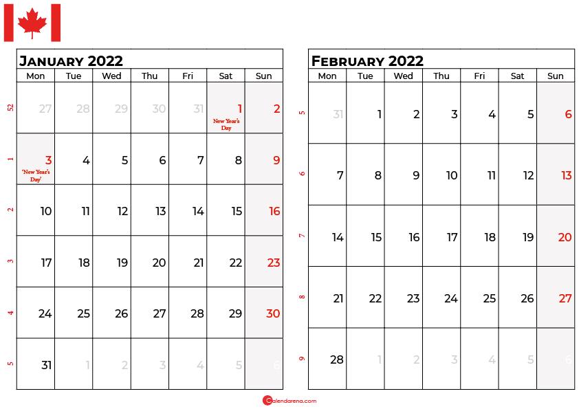 january and february 2022 calendar canada