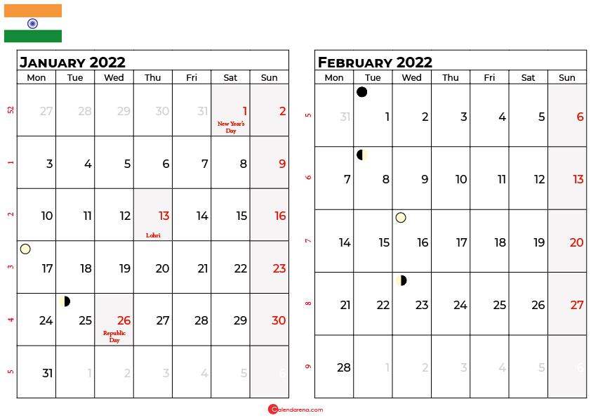january and february 2022 calendar india