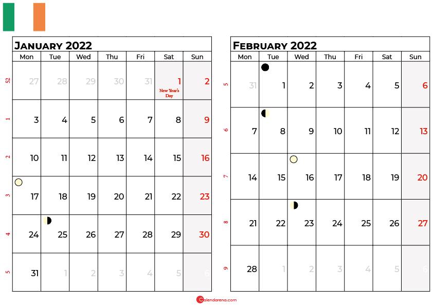 january and february 2022 calendar ireland