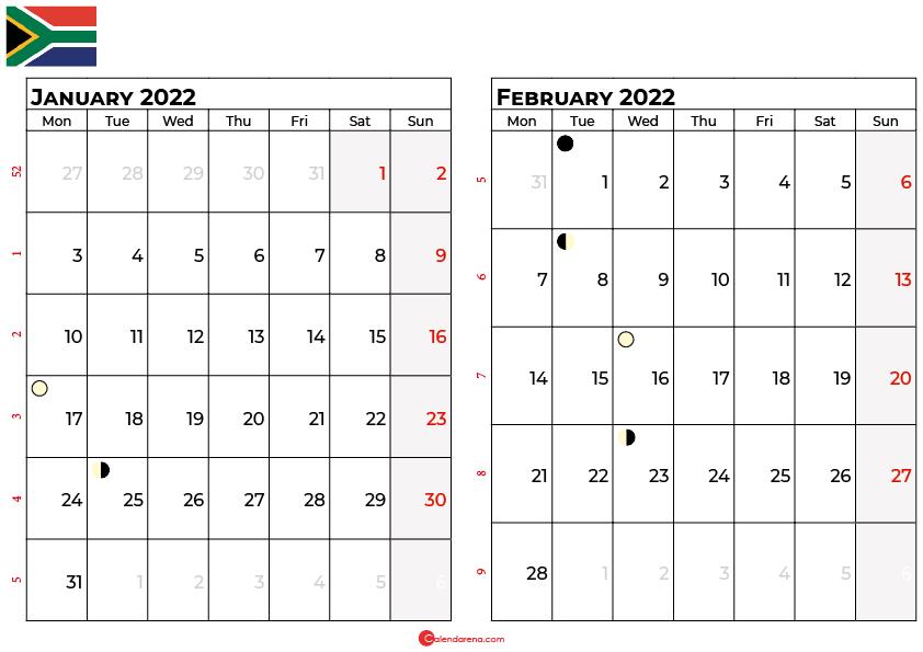 january and february 2022 calendar south africa