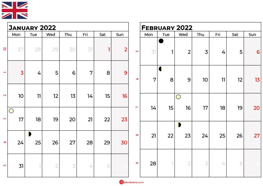 january and february 2022 calendar uk