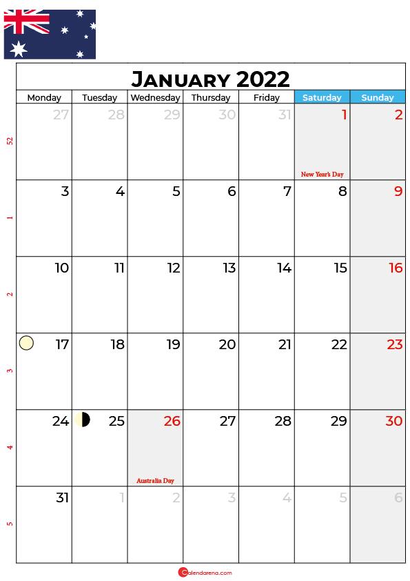 january calendar 2022 australia