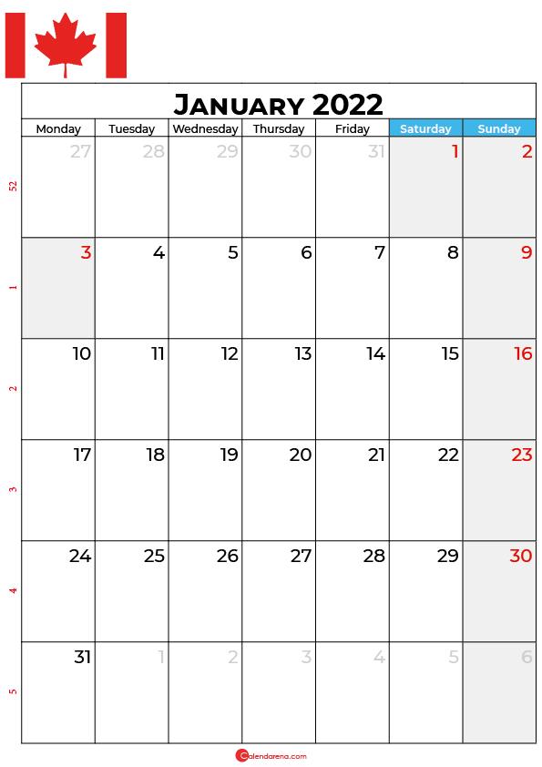 january calendar 2022 canada