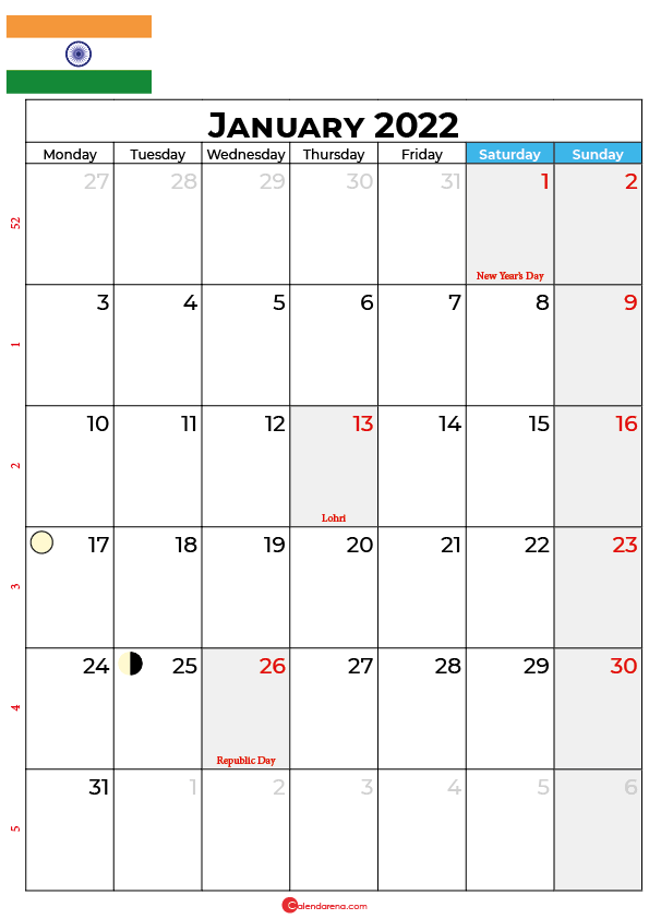 january calendar 2022 india