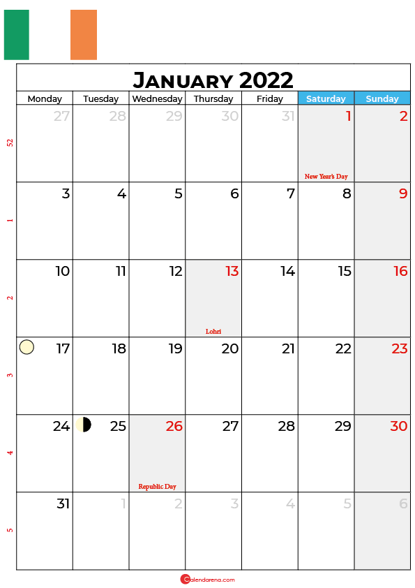 january calendar 2022 ireland