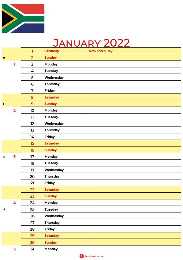 january calendar 2022 south africa