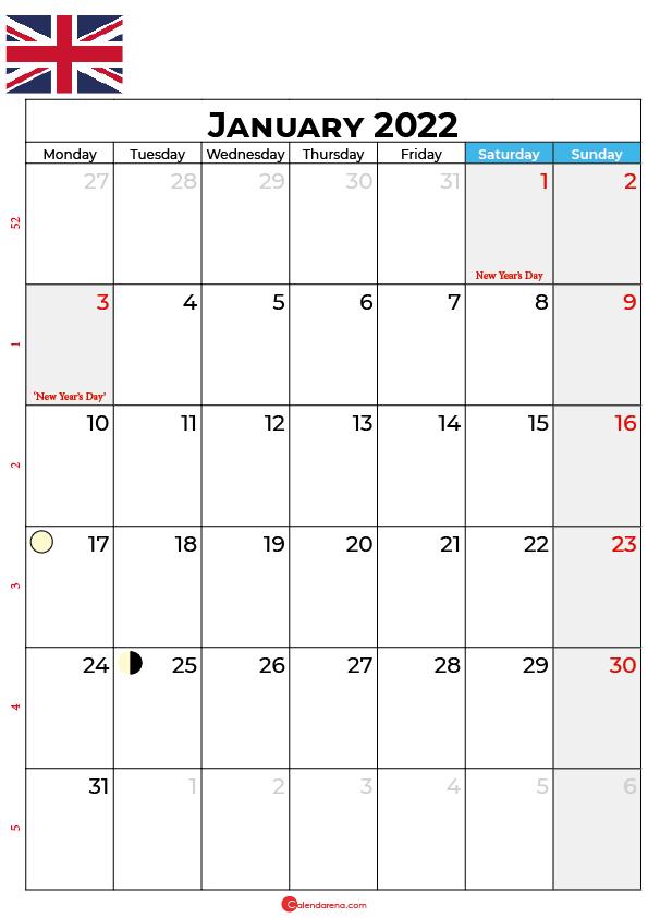 january calendar 2022 united kingdom