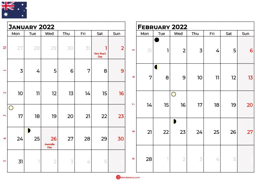january february calendar 2022