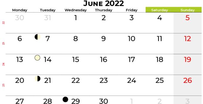 june 2022 calendar india