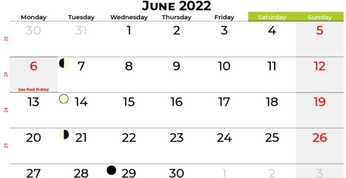 june 2022 calendar ireland