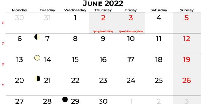 june 2022 calendar united kingdom