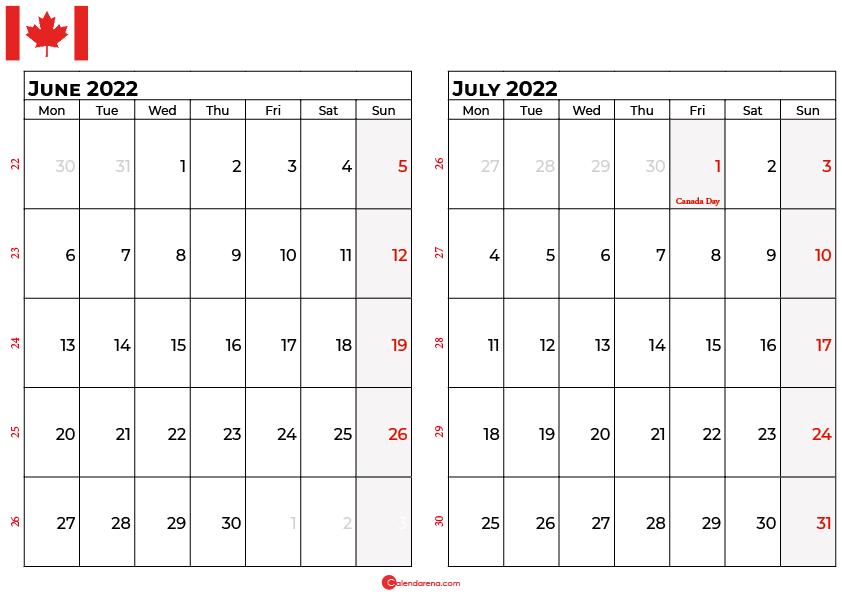 june and july 2022 calendar canada