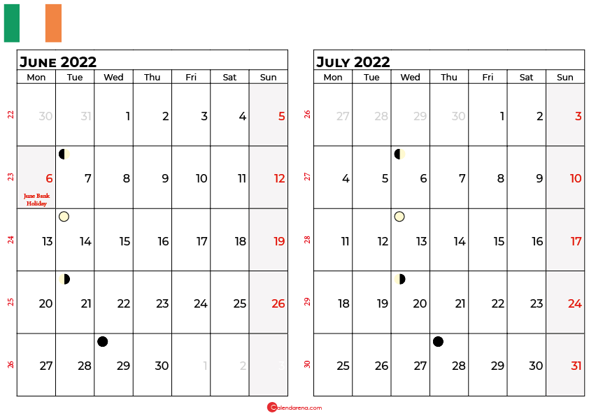 june and july 2022 calendar ireland