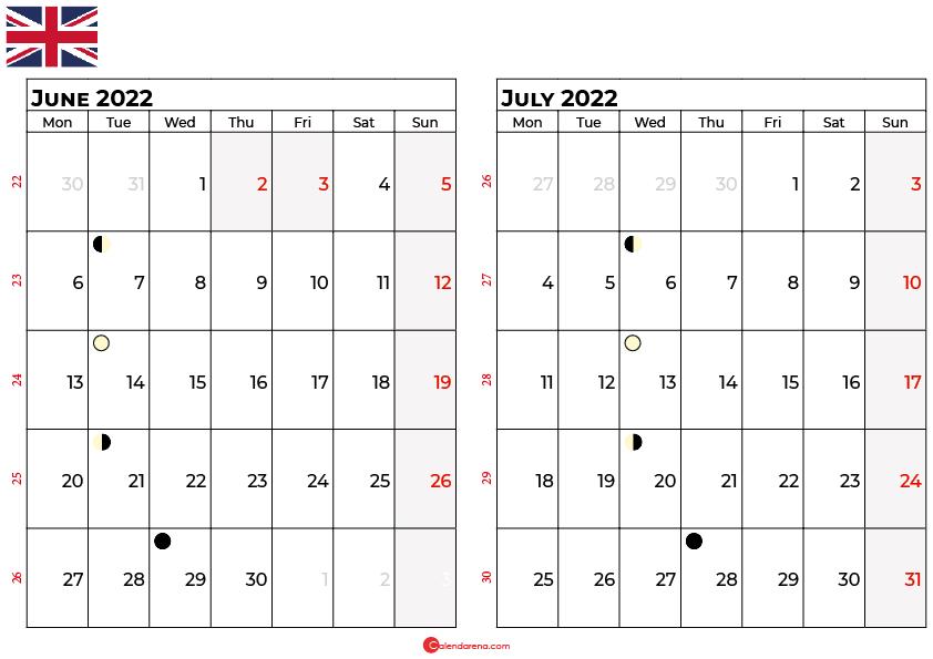 june and july 2022 calendar uk