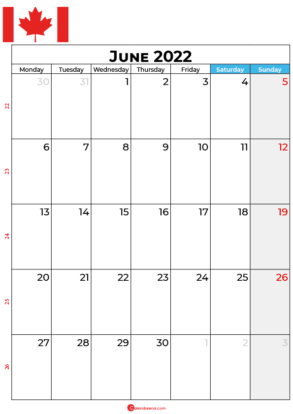 june calendar 2022 canada