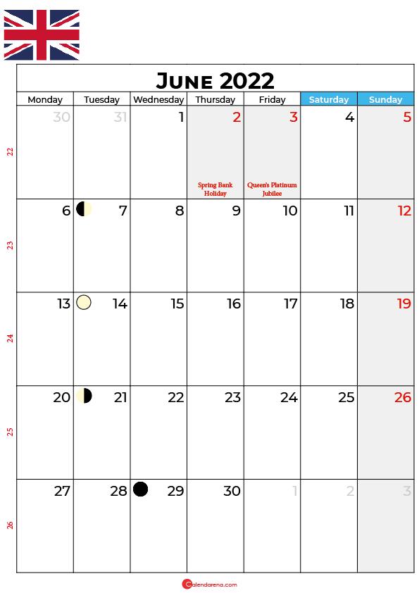 june calendar 2022 united kingdom