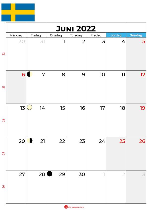 juni kalender 2022 Sverige