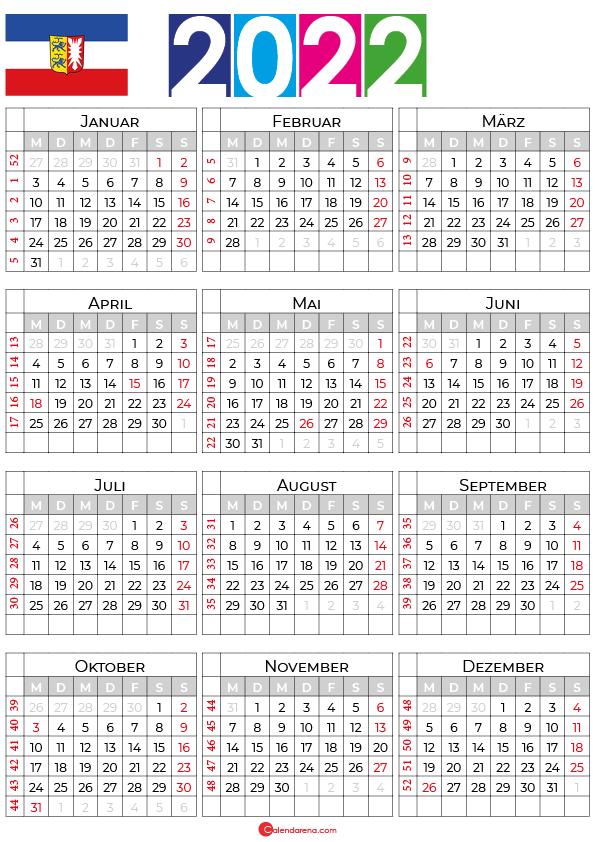 kalender 2022 ferien schleswig holstein
