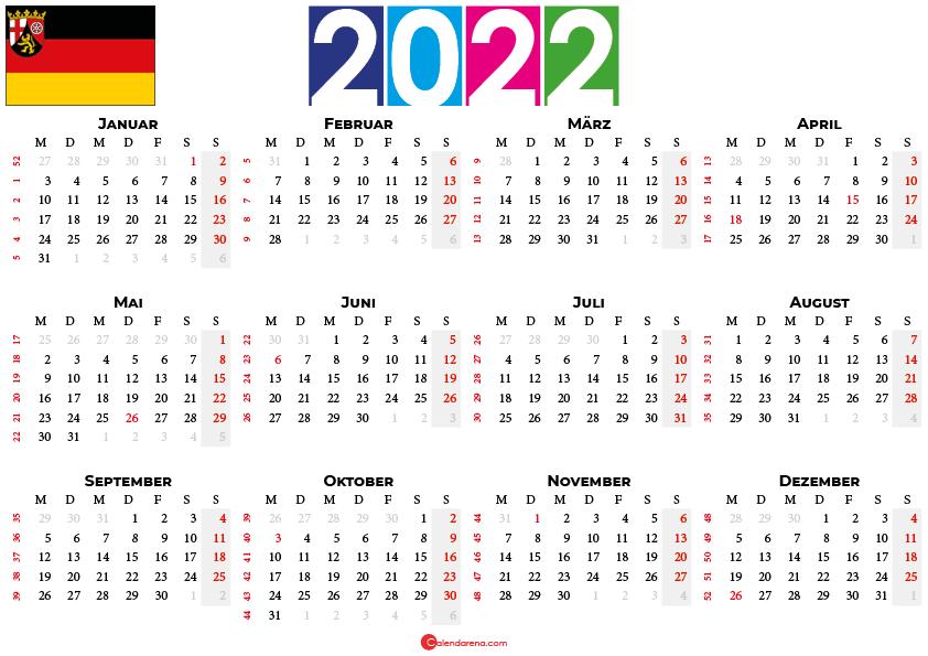 kalender 2022 mit feiertagen rheinland-pfalz