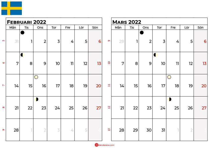 kalender Februari mars 2022